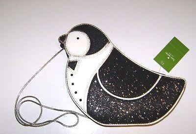 Kate Spade New York Black Clifton Lane Penguin Crossbody Bag Handbag Purse Nwt
