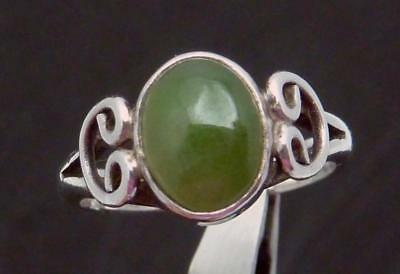 Vintage Carmen Beckmann Taxco Mexican Sterling Silver Jade Small Ring 24034