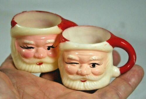 Nice Vintage Winking SANTA Mini Hard Plastic Mug Cup Set of 2  Made in Hong Kong