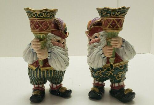Fitz and Floyd Christmas Court Santa Torche Candle Holder NIB