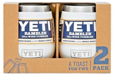YETI Rambler 10 oz Stainless Steel Vacuum Insulated Wine Tumbler, White, 2 Pack
