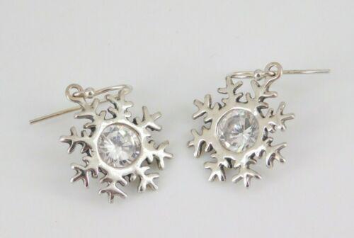 Silpada 925 Sterling Silver CZ Snowflake Earrings
