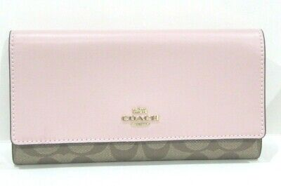 Coach Khaki Signature & Blossom Pink Leather Trifold Wallet 88024 New NWT $250