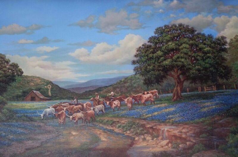 Texas Longhorns Roundup, Bluebonnets, Giclee Canvas, LoVita Irby