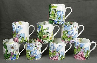 8 Rob Turner Bone China England Summer Garden Floral Chintz Coffee Mugs WOW (HH)