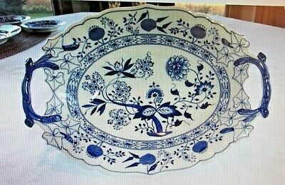 Hutschenreuther BLUE ONION Oval Vegetable Bowl with Open Handles-Made in Germany - Blue Open Vegetable Bowl
