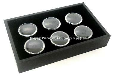 1 Black 6 Jar Box Wood Tray Display Gems Body Jewelry Gold Nugget