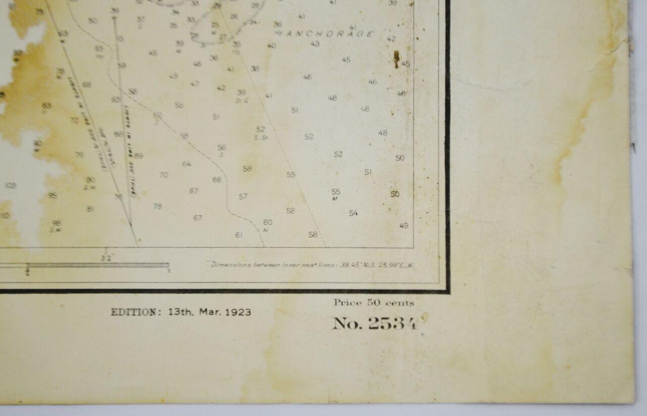 Authentic 1927 North America Canada Nova Scotia Halifax Harbor Nautical Chart