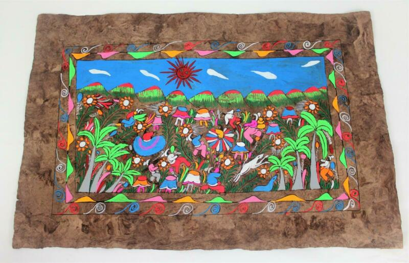 Vtg Mexican Folk Art Amate Bark Painting Bright Colors Flowers People Dancing