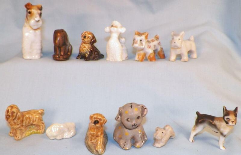 12 Vintage Dog Figurines Vrious Breeds Porcelain Metal Figural Miniature