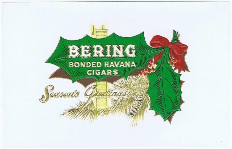 Bering Corral Wodiskay & Ca Tampa FL cigar box  label   holly Christmas