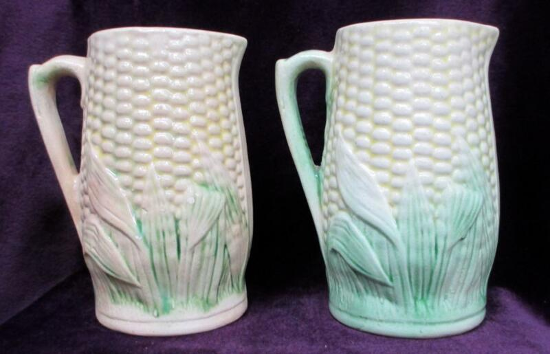 "Vintage Majolica Pitcher Pottery Yellow Corn/Green Husk Pattern 4 1/2"" Set of 2"