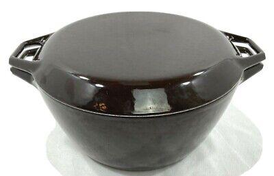 """Vintage Copco D3 Denmark Dutch Oven Pan Pot Brown Enamel Cast Iron 10"""""""