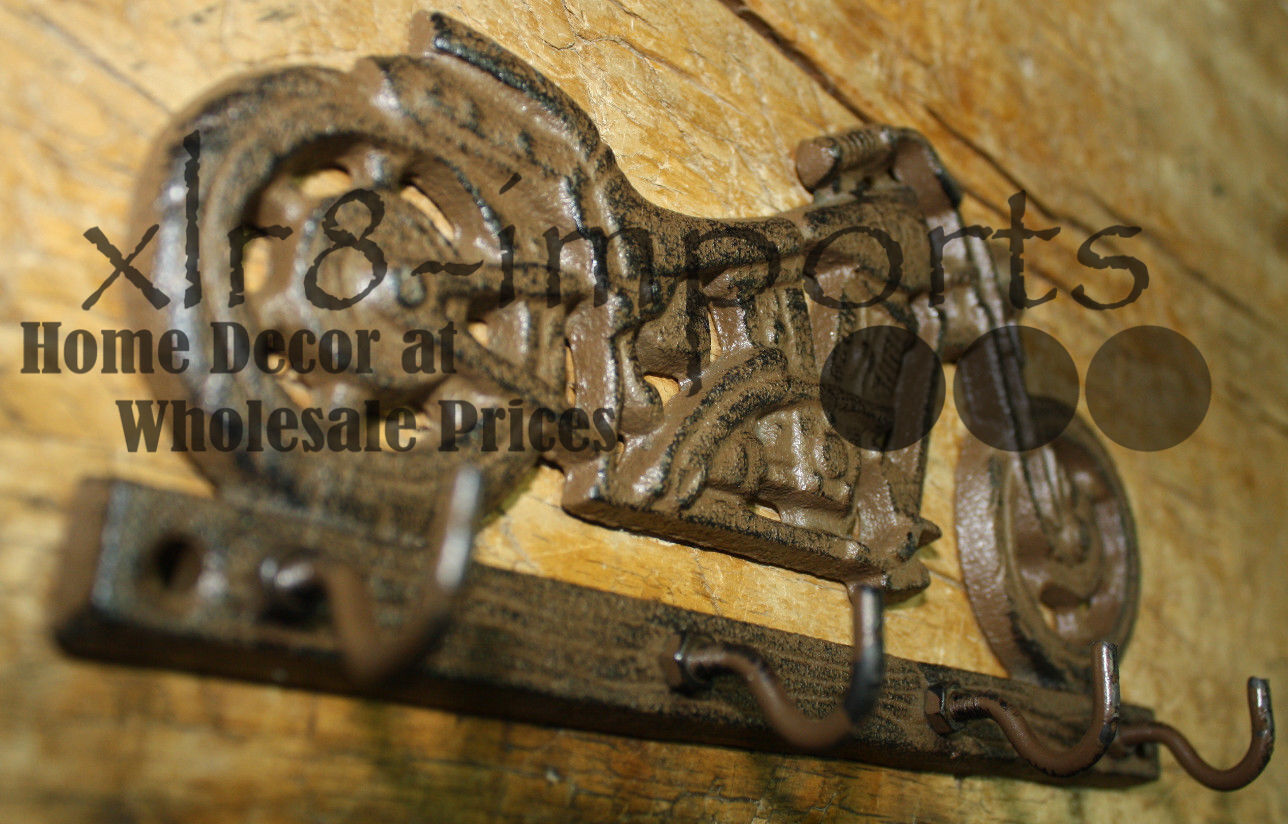 Cast Iron MOTORCYCLE Towel, Coat Hooks,  Hat Hook, Key Rack BIKE RIDER HARLEY