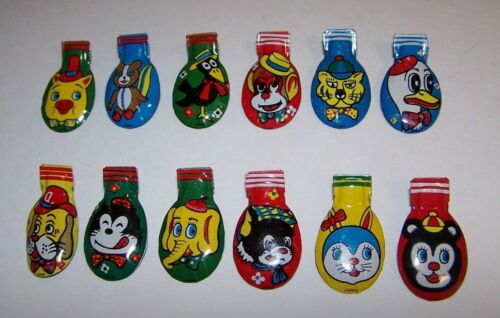 Vintage Tin Litho Animal Designs 12 Metal Clickers Noise Makers 1950s