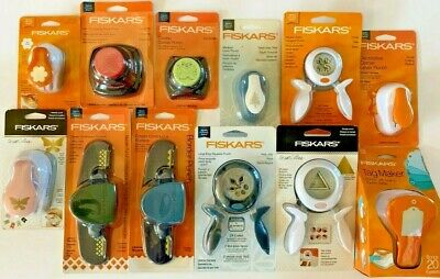 Lot of 12 Mixed Fiskars Paper Punches - Border Corner Squeeze Intricate NIP - Fiskars Punch Border