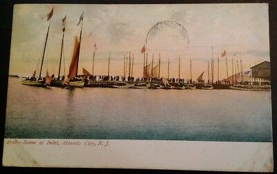 Postcard Atlantic City N.J. Yachting Inlet 1906 RARE VHTF Sail Boat for sale  Griffin