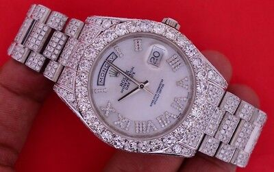 Unused Rolex Day Date II 2 President 18kt WHITE GOLD 218239 27 Ct Diamonds ASAAR