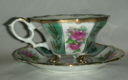 Napco Cup and Saucer footed, hand painted pink green cottage rose gold trim C239