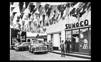 Vintage Sunoco Gas Station PHOTO Service Attendant Car Oil Cans