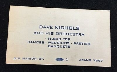 Vintage Business Card Dave Nichols & His Orchestra Toledo Ohio Music Band 3385
