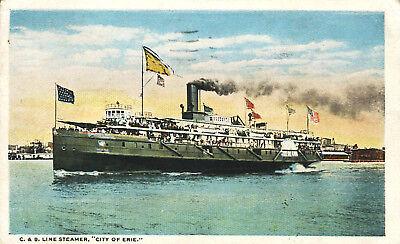 East 9Th Street Pier Ship 1915 Postcard C   B Line Cleveland Ohio   Buffalo
