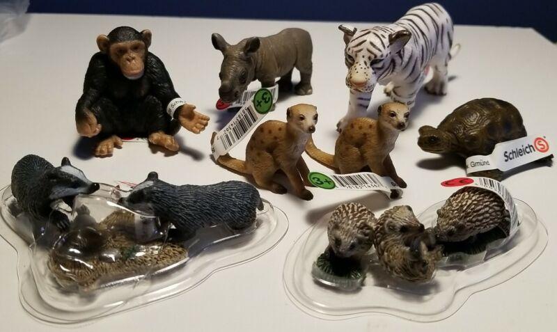New RETIRED SCHLEICH (8) WILDLIFE Animals, MEERKATS, CHIMP, RHINO, TIGER & More!