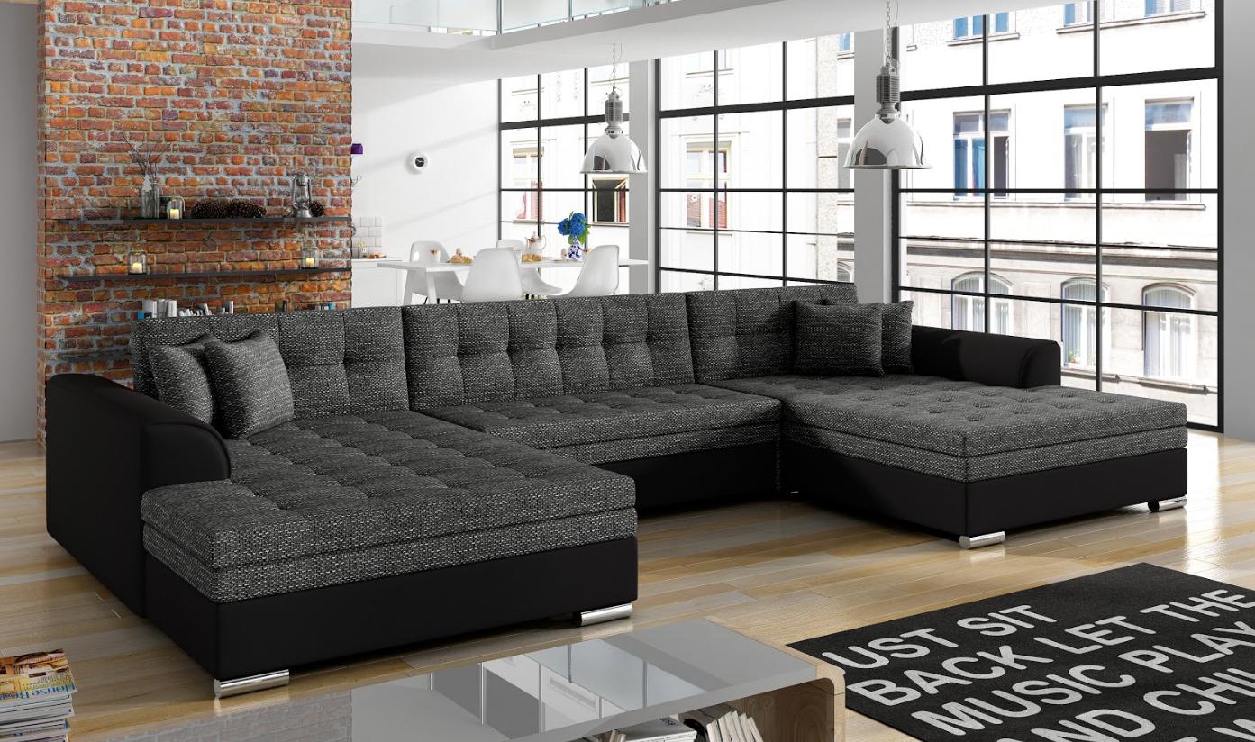 Ecksofa Sofa Polster Couch Wohnlandschaft U Form Bettfunktion Textil Stoff Big