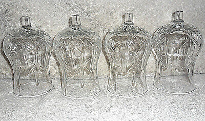 4 HOME INTERIOR HOMCO VOTIVE CANDLE HOLDERS CLEAR LINE & STAR DESIGN 5 1/2""