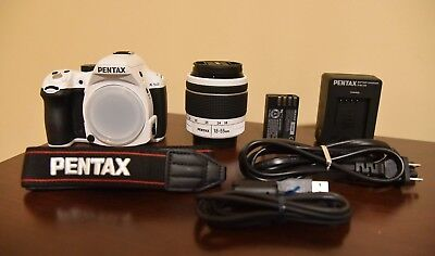 Used Pentax K-50 16.3MP Digital SLR Camera - White w/ SMC DAL 18-55mm AL WR Lens