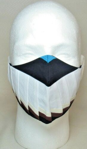 Fire Edmond Harjo Old Design Patchwork MASK Black Lined Native American Made 10""