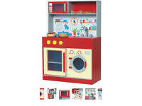 NEW Carousel Let's Cook Wooden Kitchen Pretend Red with accesories