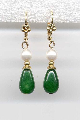 GENUINE Imperial green JADE PEARL Teardrop Earrings 14K Gold gp Art Deco Drop
