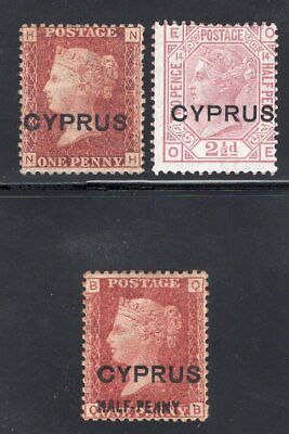 1880 Cyprus. SC#2, 3, 8. SG#2, 3, 7. Mint, Hinged, FVF.