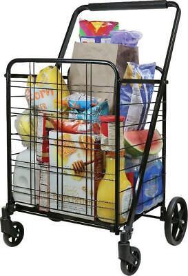 Deluxe Foldable Metal Shopping Cart Black Heavy Duty Wheels Comfort Grip Handle