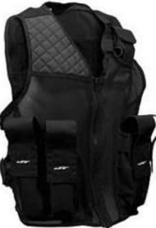 JT Tactical Vest - 4 + 1 Paint Ball Pod Pockets - Black - OSFM Breathable Mesh