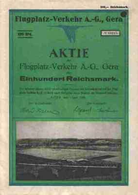 Flugplatz Verkehr AG 1928 Stadtwerke Gera Leumnitz Thüringen 100 RM ungestempelt