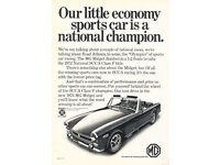 1975 MG Midget Classic Vintage Car Advertisement Ad J40 Golden