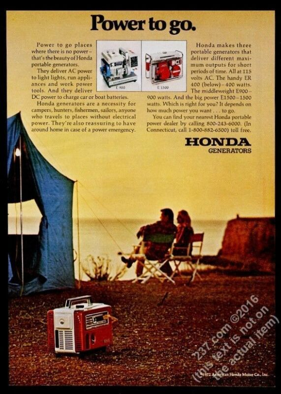 1972 Honda portable generator camping couple photo vintage print ad