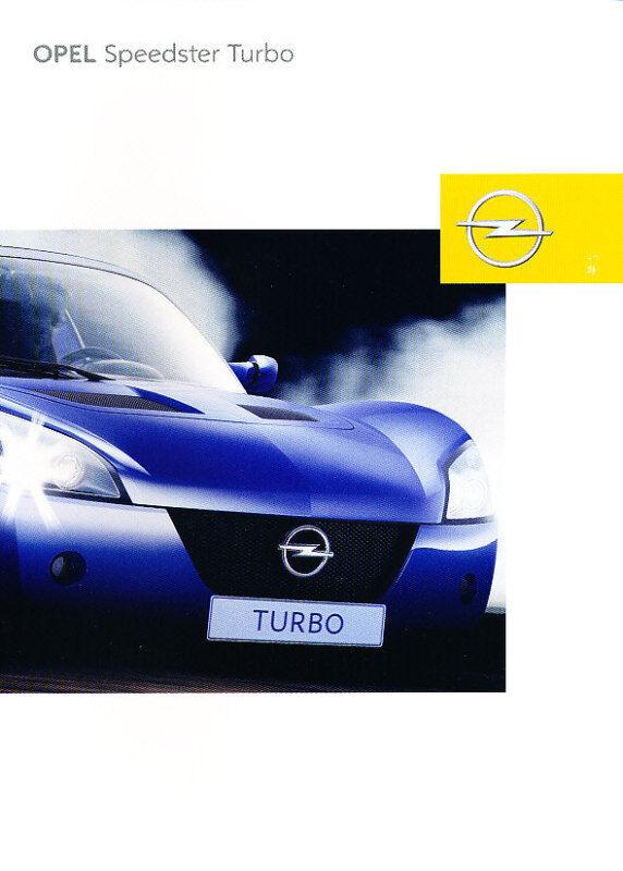 2003 Opel Speedster Turb German Sales Brochure Prospekt