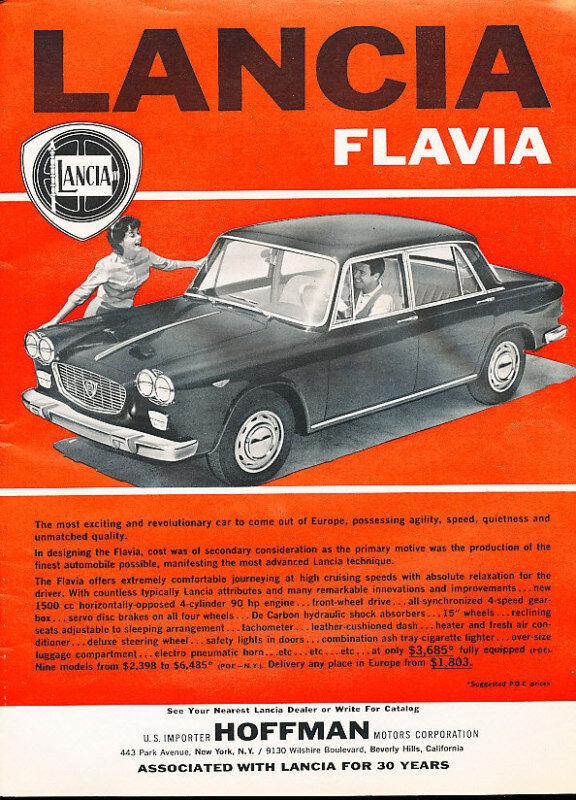 1962 Lancia Flavia Hoffman Classic Advertisement Ad