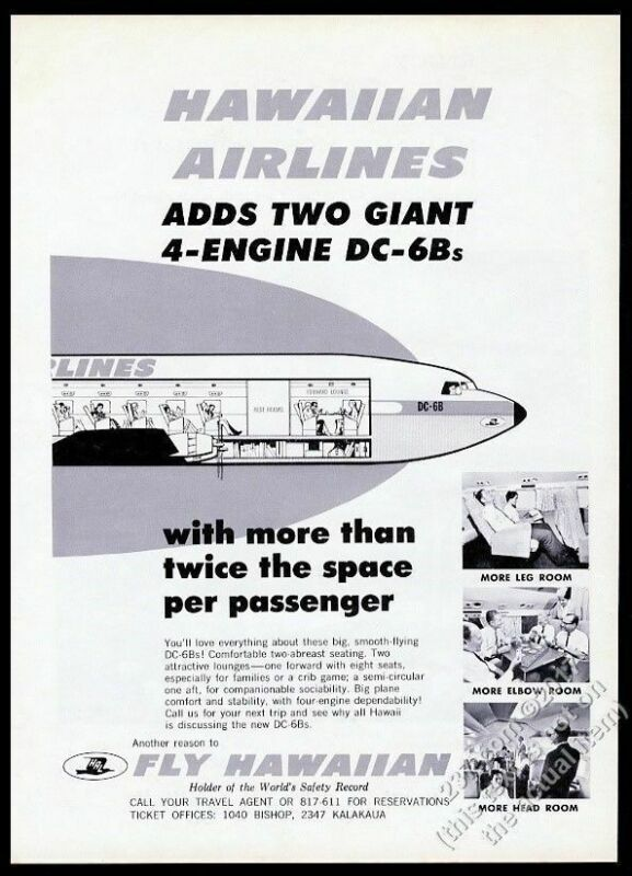 1964 Hawaiian Airlines DC6 plane diagram and photo vintage print ad