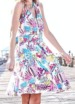 Adult Lily (FRESH PRODUCE Large White Bright BOTANICAL Floral Lily Tank Dress $89 NWT New L )