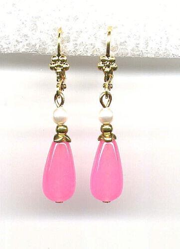 GENUINE PINK JADE BRIOLETTE Teardrop PEARL Earrings 14K Gold gp *Victorian Style