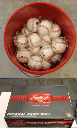 (327) 30 new MILB Batting Practice Balls Flat Seem with Bucket