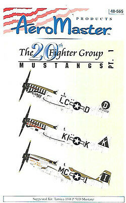 AeroMaster Mustangs 20 FG Part 1 Decals Tamiya 1/48 Scale Kit AN48565