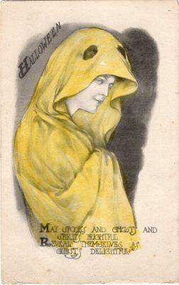 HALLOWEEN POSTCARD UNKNOWN PUBLISHER ARTIST M. FARINI, PAINTED, BEAUTIFUL LADY.