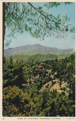CYPRUS POSTCARD VIEW OF PLATRES TROODOS MOURETTOS C 1952