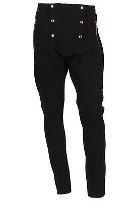 NEW BALMAIN MEN'S CURRENT BLACK ZIPPER DETAILS COTTON SWEATPANTS PANTS S/SMALL