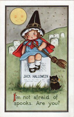 HALLOWEEN POSTCARD, PUBLISHED BY WHITNEY, WITCH GIRL ON TOMB STONE.](Halloween Witchs)